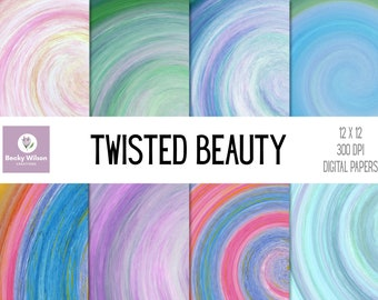 TWISTED BEAUTY Digital Papers and Backgrounds, Scrapbook Paper, Digital Wallpaper, Printable Paper, Printable Wall Art, Download-Print