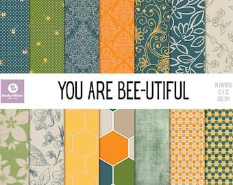 You Are BEE-UTIFUL digital papers and backgrounds, Scrapbook Paper, Digital Wallpaper, Printable Paper, Printable Wall Art, Download & Print