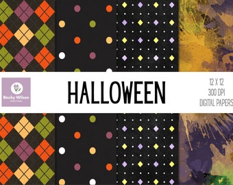 HALLOWEEN Digital Papers and Backgrounds, Scrapbook Paper, Digital Wallpaper, Printable Paper, Printable Wall Art, Download-Print