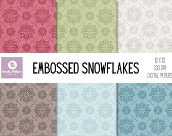 EMBOSSED SNOWFLAKE Digital Papers and Backgrounds, Scrapbook Paper, Digital Wallpaper, Printable Paper, Printable Wall Art, Download-Print