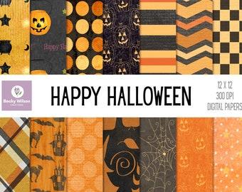 HAPPY HALLOWEEN Digital Papers and Backgrounds, Scrapbook Paper, Digital Wallpaper, Printable Paper, Printable Wall Art, Download-Print