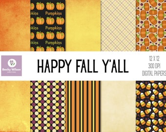 HAPPY FALL Y'ALL Digital Papers and Backgrounds, Scrapbook Paper, Digital Wallpaper, Printable Paper, Printable Wall Art, Download-Print