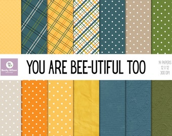 You Are BEE-UTIFUL Too digital papers and backgrounds, Scrapbook Papers, Digital Wallpaper, Printable Wall Art, Download & Print