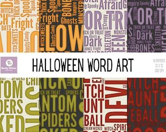HALLOWEEN WORDART Digital Papers and Backgrounds, Scrapbook Papers, Digital Wallpaper, Printable Paper, Printable Wall Art, Download & Print