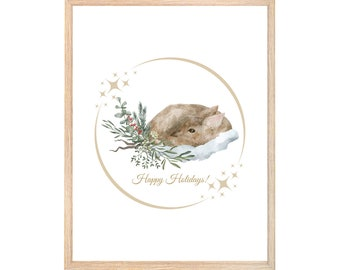 Woodland Christmas Printable Wall Art | Happy Holidays Christmas Digital Print | Deer Christmas Print | Instant Download