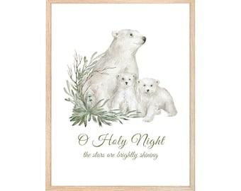 Christmas Printable Wall Art | O Holy Night the Stars are Brightly Shining Digital Print | Polar Bear Christmas Print| Instant Download