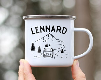 Enamel Cup with Roadtrip Camping Holiday by Name - Zero Waste