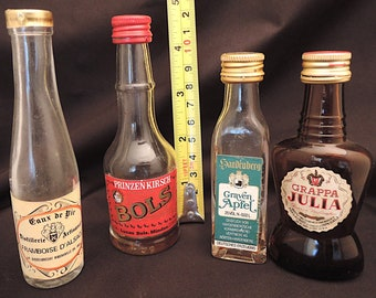 Vintage Mini bottle set of four from the 1970s 80s miniatures empty Liqueur Brandy - France - Germany - Italy