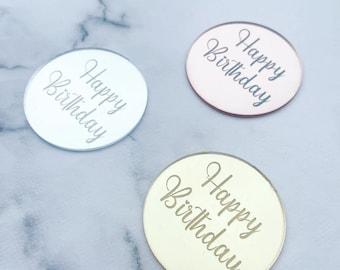 Happy birthday cupcake topper - Cupcake charm disc - Acrylic cupcake tag