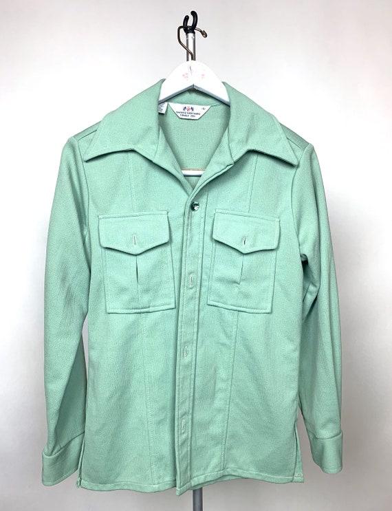 Vintage 1970's mint green polyester Men's Shirt - image 1