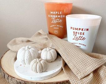 Pumpkin Decor | Trio of Pumpkins | Table Ornaments | Minimalist Halloween Shelf Decoration | Autumnal Styling | Jesmonite Pumpkins