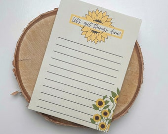 A6 NOTEPAD - Let's get things done - to do list notepad - sunflower theme