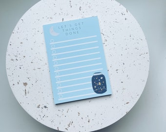 A6 NOTEPAD - Let's get things done - to do list notepad - space theme