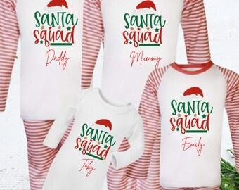 Santa Christmas pyjamas, matching family set, red/white stripe matching pj's, Christmas pjs, christmas eve pyjamas, pajama