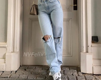 Straight Cut Sand Washed Ripped Mom Jeans
