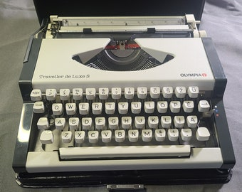 Vintage Typewriter- 1979 Olympia Traveller S w/ Lithuanian Keyboard-Free Shipping!