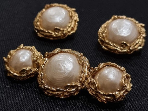 Yves Saint Laurent YSL Vintage Pearl Brooch and E… - image 1