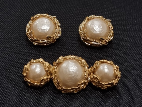 Yves Saint Laurent YSL Vintage Pearl Brooch and E… - image 4