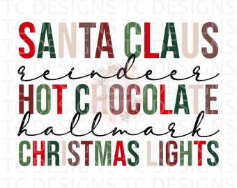 Santa Claus Reindeer Hallmark Hot Chocolate Christmas Lights Distressed Or Clean PNG File for Sublimation, Christmas, December,  DTG