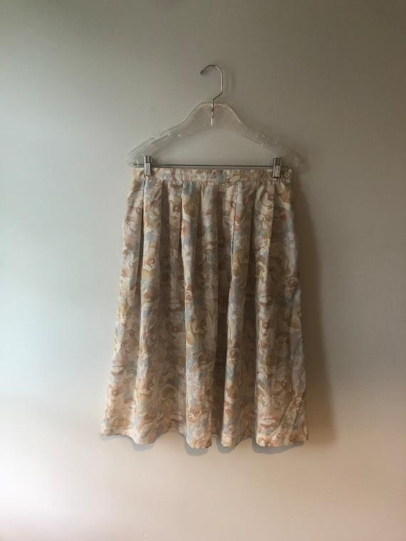 Vintage 1970s Floral Pastel Skirt