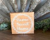 Home Sweet Home, Farm Sweet Farm,Tiered Tray Sign, Tiered Tray Decor, Mini Wood Sign, Wood Block, Shelf Sitter Block, Shelf Decor