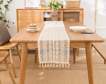 Table Runner Macrame Boho Style, Beige, Rectangular Elegant Runner for Boho Deco Living Room Dining Room Deco Farmhouse