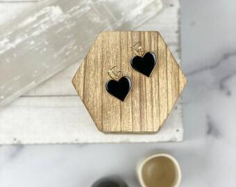Vivian Black Heart Earrings