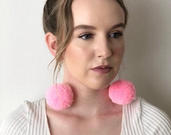 Bubblegum Pink Pom Pom Earrings