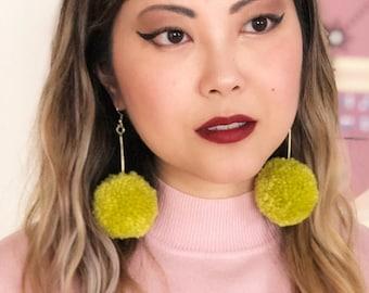 Lime Green Pom Pom Earrings