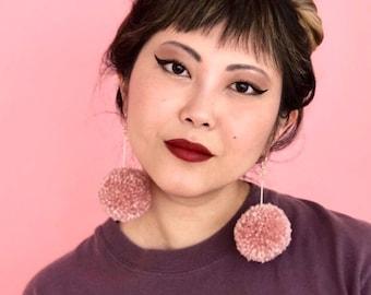 Dusty Pink Pom Pom Earrings