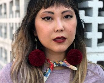 Red Pom Pom Earrings