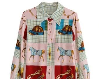 Casual Ladies Designer Horse Print Equestrian Blouse Top Shirt  by Equestrian Hills