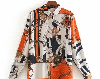Vintage Casual Ladies Designer Horse Print Equestrian Blouse Top Shirt by Equestrian Hills