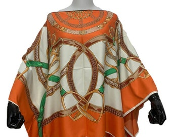 Vintage Casual Ladies Designer Horse Print Equestrian Kafton Silk Blouse by Equestrian Hills