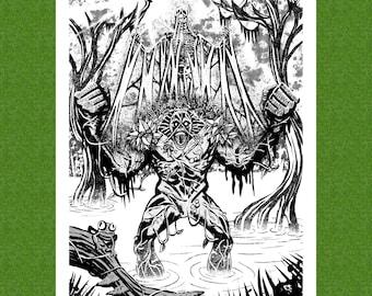Swamp Thing DC Comics Vertigo Black and White Art Print