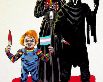 Queer Horror Icons - Chucky, Pinhead & Ghostface (A5 Colour Prints)