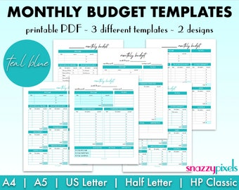 Monthly Budget Template (Teal Blue), Monthly Budget Printable PDF, Budgeting Organizer, Expenses Money Tracker   5 Sizes, Instant Download