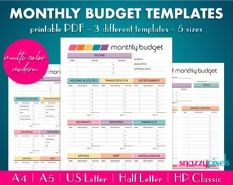 Monthly Budget Template (Multi-Color), Monthly Budget Printable PDF, Budgeting Organizer, Expenses Money Tracker   5 Sizes, Instant Download