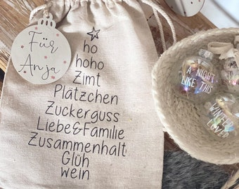 Personalized gift bag with wooden pendant, St. Nicholas bag, 3 sizes available