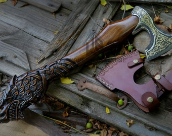 Axe Tiger Fenrir Norse mythology, the Royal Tiger, Gift axe Gilded carved hatchet.