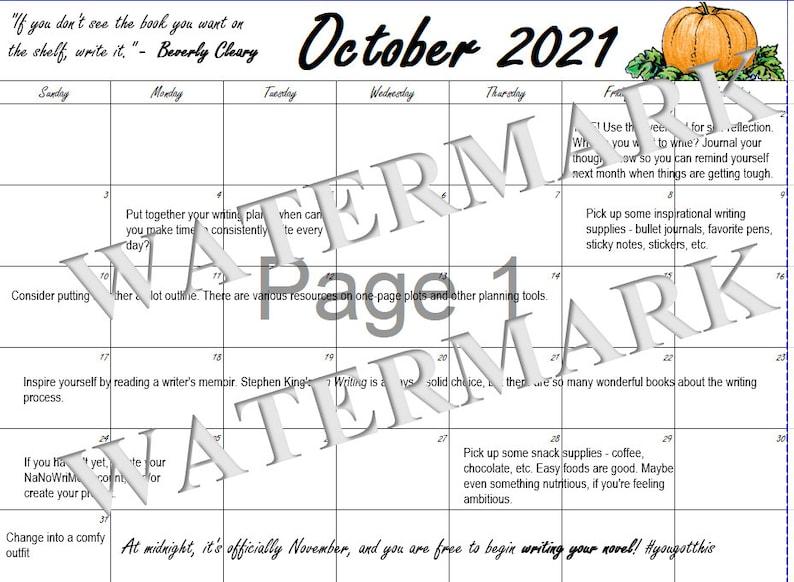 Preptober 2021 Calendar image 1