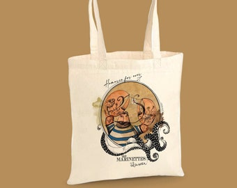 """Tote Bag Bio in its Burger box, original illustration of the collection """"les Marinettes"""""""