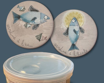 """Duo of magnets """"sardine blue"""" and its storage box"""