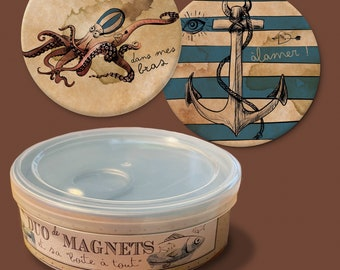 """Duo of magnets """"poulpypoulpe"""" and its storage box"""