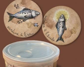 "Duo of magnets ""sardine tatoo"" and its storage box"