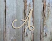 Unfinished Wooden Alphabet Letters, Marcella Font, Door Hanger, Wall Décor, Craft, Full Alphabet Available, Art and Décor Letter, Script