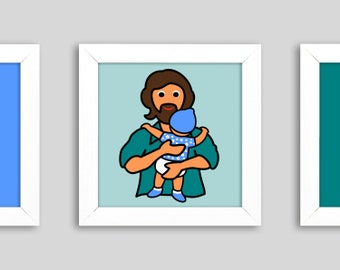 Father's Day' - Mini, small graphic in the frame, 12 x 12 cm, digital print, as a thank you to all fathers