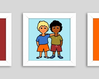 Best Buddies' - Mini, small graphics in the frame, a children's picture for best friends