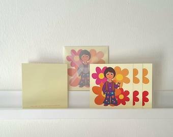 Folding cards 'Flower Power', mini, 5 pcs. card + 5 pcs. envelope, transparent, 10 x 10 cm, whether as a messenger of peace or invitation card