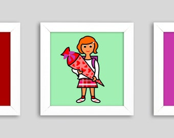 Lisa with heart' - Mini, small graphic in the frame, 12 x 12 cm, digital print, a lucky charm for the 1st day of school